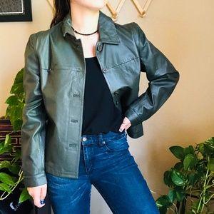 ⌈Newport News⌋ Green Genuine Leather Jacket